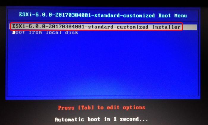 VMware vSphere 6.0 ESXi Hypervisorのインストール手順